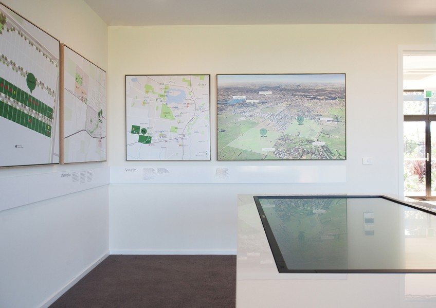 Touchscreen table at the Winterfield sales office